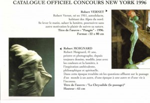 pages du catalogue avec la photo de la sculpture primé concours International de NewYork 1996