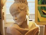sculpture portrait marbre rose et blanc